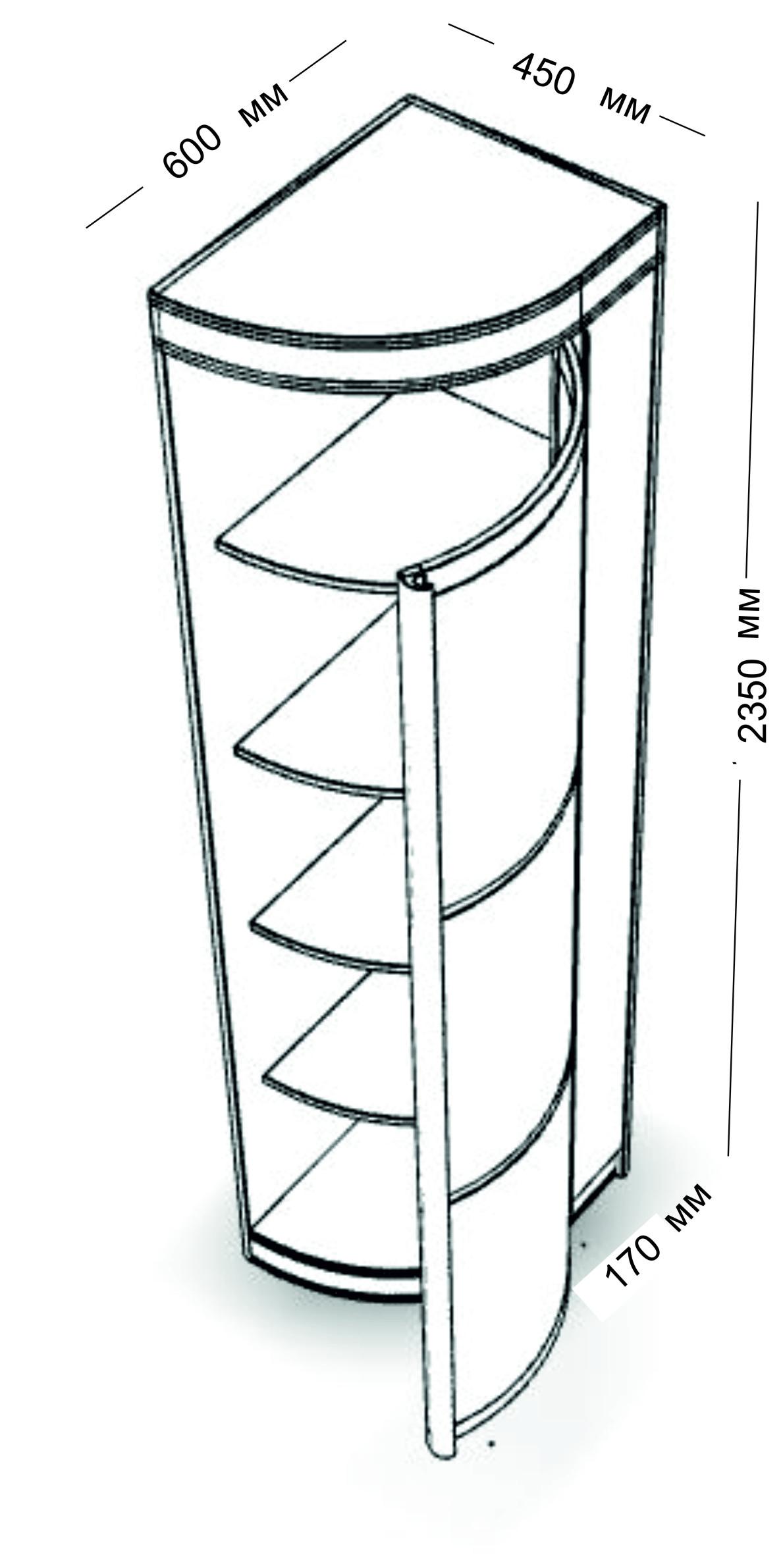 Шкаф-купе радиусный ассиметричный радион рио левый.
